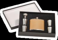 FSK655 - 6 oz. Leather Flask Set in Black Presentation Box