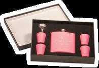 FSK661 - 6 oz. Matte Pink Flask Set in Black Presentation Box
