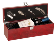 WBX15 - Burlwood High Gloss Finish Single Wine Box with Tools