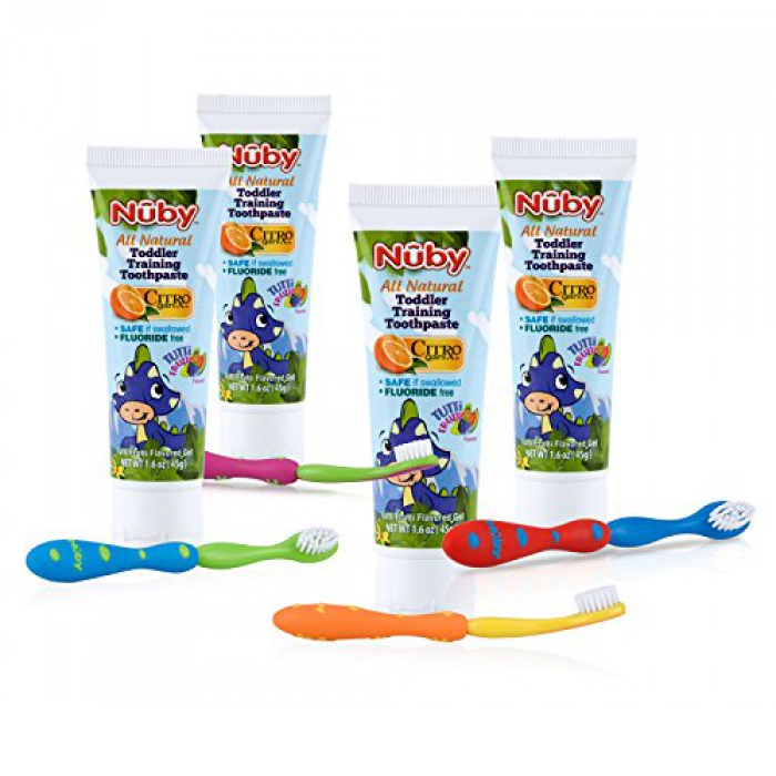 Nuby - All Natural Toddler Training Toothpaste And Toothbrush, 45g ...