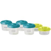 Beaba - Set of 6 Portions Food Storage, Blue/Neon (912481)