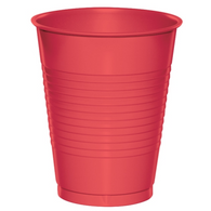 RED 12 X 270ml (9oz) PLASTIC CUPS