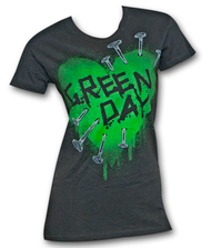 Green Day Heart Nails Black Ladies Graphic Tee Shirt