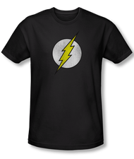 DC Comics Distressed Flash Logo Adult Tee Shirt in Black