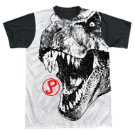 Mens Jurassic Park T Rex Head Black Back Sublimation Tee Shirt