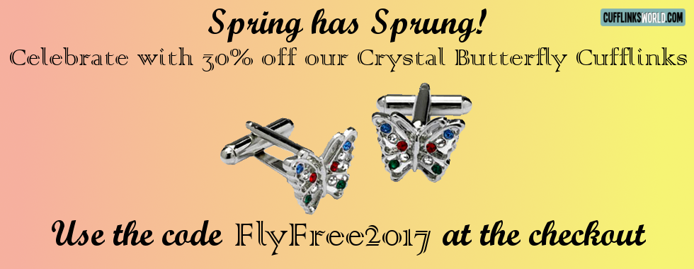 Crystal Butterfuly Cufflinks for just £8.39 during March 2017 using code FlyFree2017