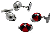 Chrome and Red and Black Jockey Hat Cufflinks
