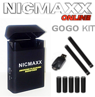 NICMAXX electronic cigarette GoGo kit including 2 batteries, USB charger, and 5 pack of e-cig cartridges