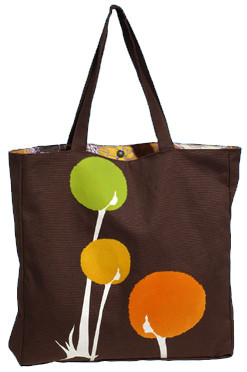 Brown lime green orange yellow white canvas floral tote
