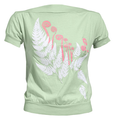 Mint green pink white fern print knit boatneck tee