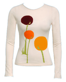 Off white fuzzy Afro floral dandelion long-sleeved tee
