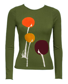 Olive green dandylion Afro floral long sleeved tee