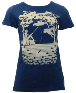 Navy white girl fishing cotton tshirt