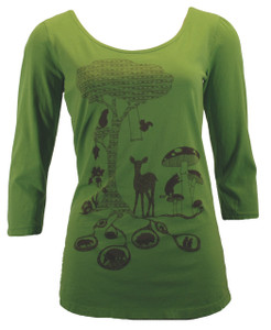Apple green brown forest animals print cotton scoop neck tee