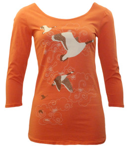 Orange white brown geese scoop neck tee