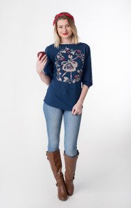 Navy blue white red apple picking girl floral boatneck tee
