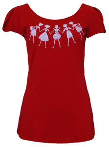 Red white festive women short-sleeve tee