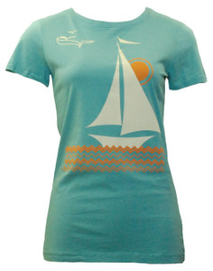 Aqua orange white sailboat print tee