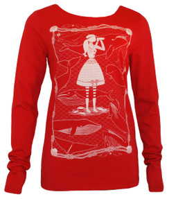 Red whale watcher long sleeved tee