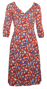 Red Blue Orange White Honeycomb Geo Sleeved Surplice Dress