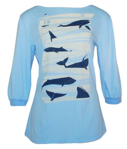 Light blue navy blue white boatneck whales graphic tee