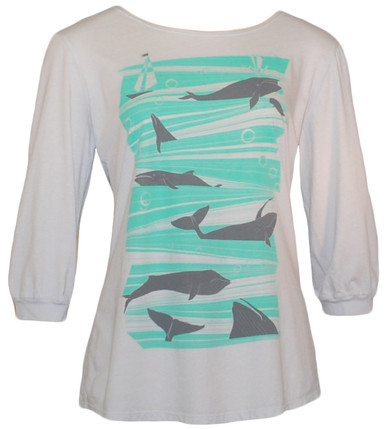 Light gray green whale print boatneck tee