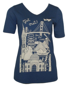 Vintage navy travel graphic short-sleeve v-neck tee
