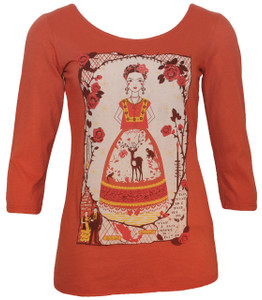 Spice orange Mexican artist print scoopneck top
