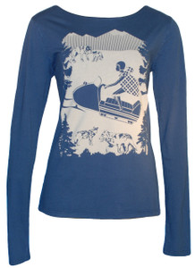 Snow Fun in Vintage Navy Long Sleeve