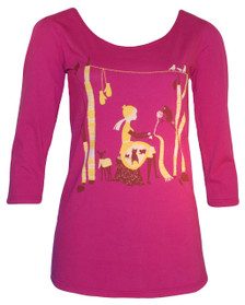 Bright pink knitting girl in forest scoopneck tee