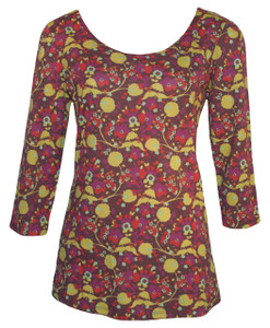 Brown lime red purple leaf vine garden print scoop neck 3/4 sleeve ballet tee top