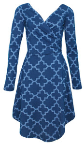 Sleeved Surplice Wrap Dress in Vintage Navy Trellis