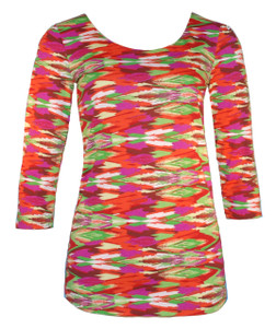 Red orange green phoenix feather ethnic geometric print scoop neck 3/4 sleeve tee