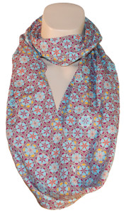 Light blue purple red Moroccan tile print infinity scarf