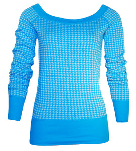 Bright blue houndstooth long sleeve scoop neck pullover top