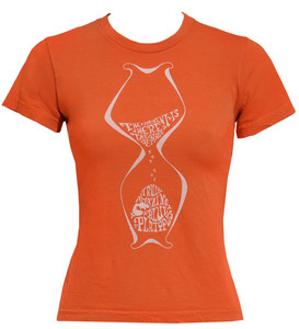 Burnt orange quirky hourglass psychedelic print cotton tee