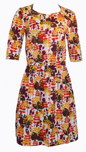 Orange plum mustard brown leaf print forest elastic waist short sleeved knit dress