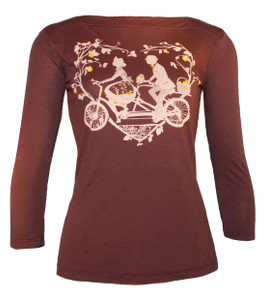 Brown white yellow tandem bicycle print boatneck 3/4 sleeve tshirt