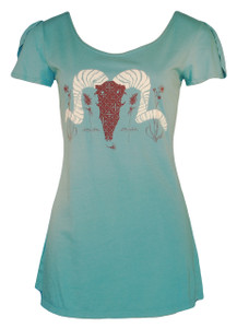 Aqua blue brown white bighorn sheep animal print short sleeve cotton tee top