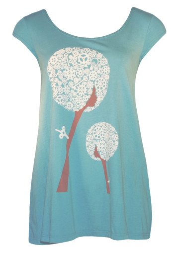 Aqua brown white floral afro girl retro cap-sleeved swing top