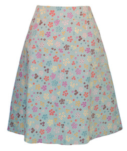 Aqua blue red yellow brown calico floral woven knee length skirt