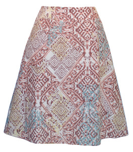 Pastel Aztec ethnic geometric print a-line woven knee length skirt