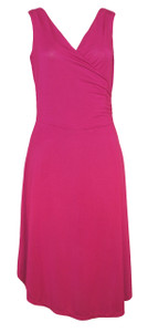 Bright raspberry pink surplice knit knee length wrap dress