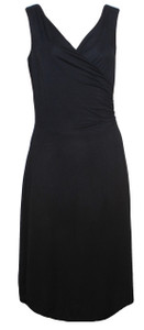 Solid black knit surplice wrap knee length knit dress