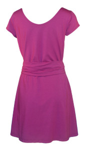 Mulberry pink purple solid knee length short sleeve belted knit dress back