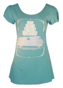 Aqua blue travel are we there yet camper motorhome short sleeve scoop neck tee top