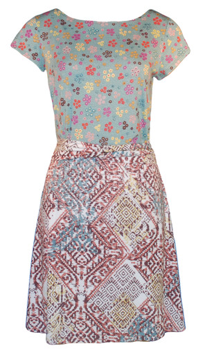 Aqua calico aztec pastel geometric print blocked casual knit belted dress