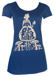 Navy blue Alice forest girl print graphic flutter sleeve tee
