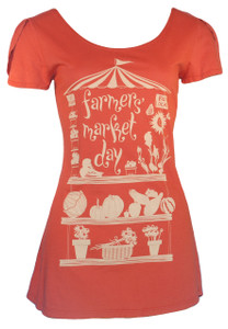 Vintage red white farmers market day flutter sleeve tee