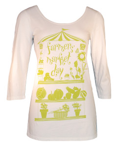 Off white lime green 3/4 sleeve scoopneck farmers market ballet top